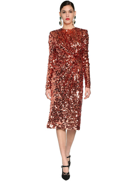 DOLCE & GABBANA Sequined Stretch Tulle Midi Dress in orange / pink