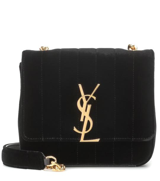 Saint Laurent Vicky Small velvet shoulder bag in black