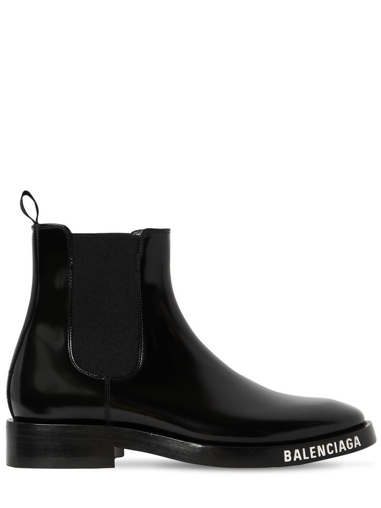 BALENCIAGA 30mm Evening Brushed Leather Boots in black