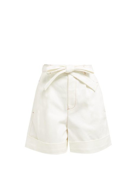 See By Chloé See By Chloé - Belted High Rise Denim Shorts - Womens - Ivory