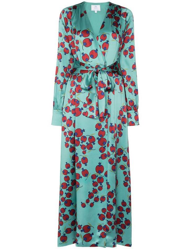 Rebecca De Ravenel berry-print tie-waist dress in blue