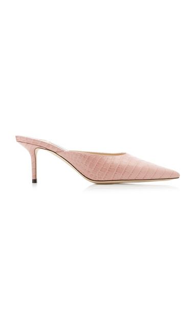 Jimmy Choo Rav Croc-Effect Leather Mules in pink