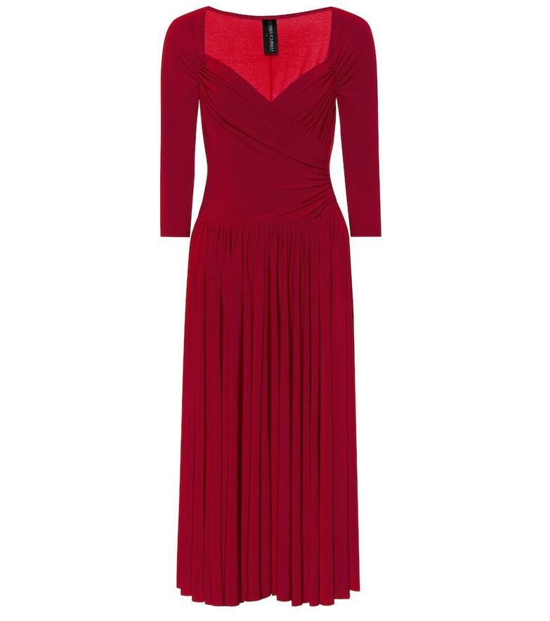 Norma Kamali Super Flair stretch-jersey midi dress in red