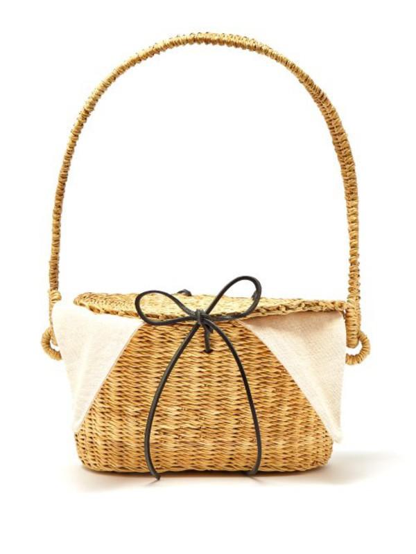 Muuñ Muuñ - Jeanne Mini Woven Straw Bucket Bag - Womens - Cream
