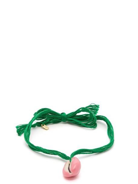 Aurélie Bidermann - Takeyama Cotton Cord And Porcelain Ankle Bracelet - Womens - Green