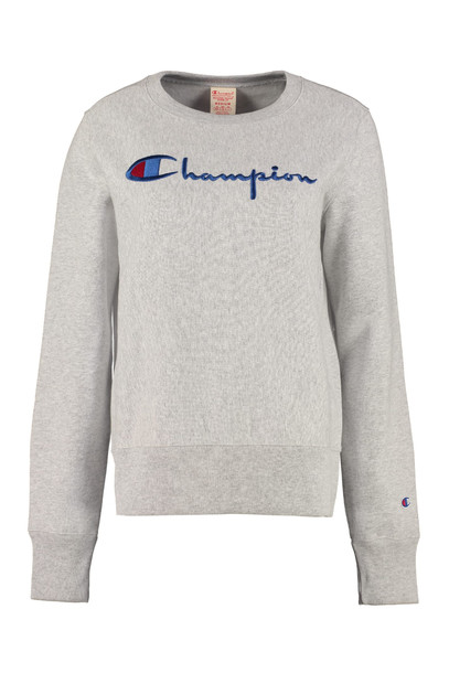 Champion Logo Detail Cotton Sweatshirt in grey