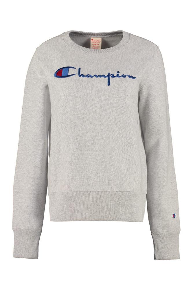 Champion Logo Detail Cotton Sweatshirt in grey