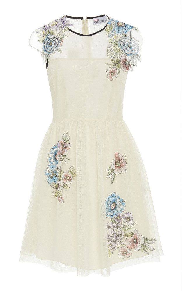 Red Valentino Patch Detail Tulle And Point D'Esprit Dress in white