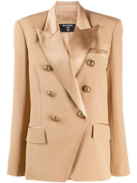 Balmain contrast lapel double-breasted jacket in brown
