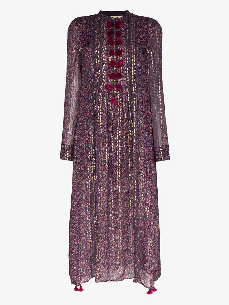Figue Rumi printed silk kaftan dress in purple