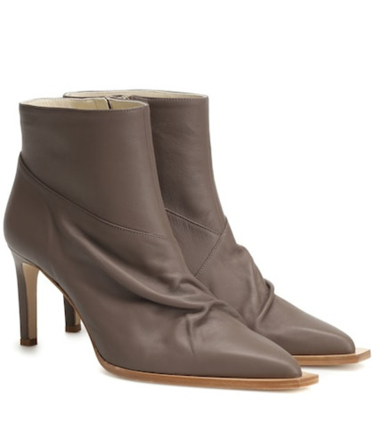 Tibi Cato leather ankle boots in brown