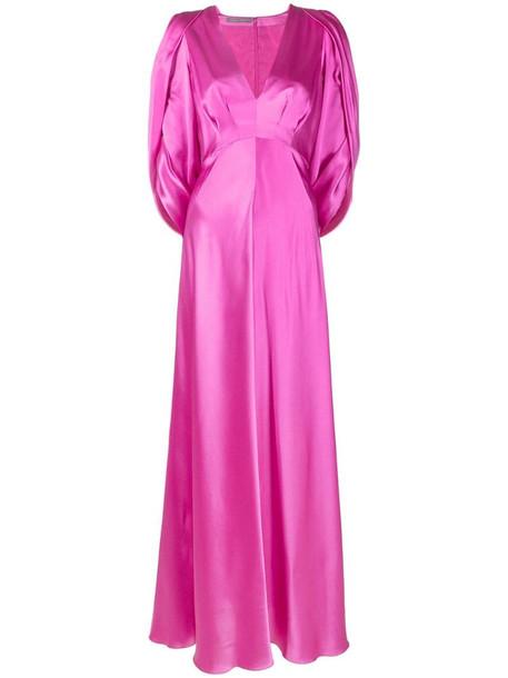 Alberta Ferretti empire line cut-out long silk dress in pink