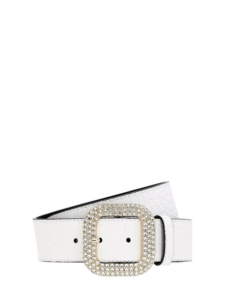 KATE CATE 40mm Croc Embossed Leather Belt in white