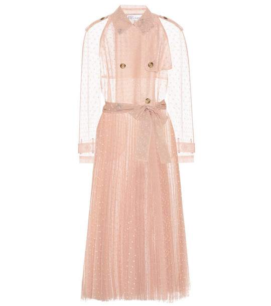 REDValentino Pleated tulle trench coat in pink