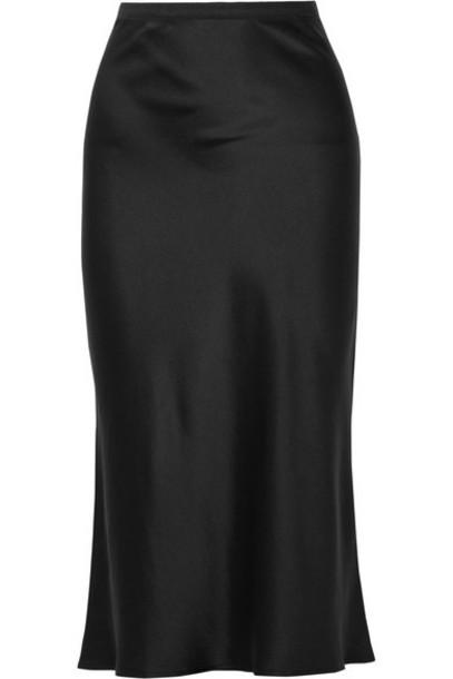 Anine Bing - Bar Silk-satin Midi Skirt - Black