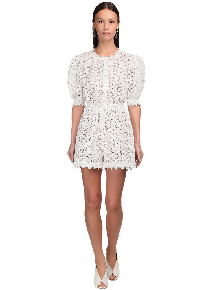 LUISA BECCARIA Linen Eyelet Lace Romper in white