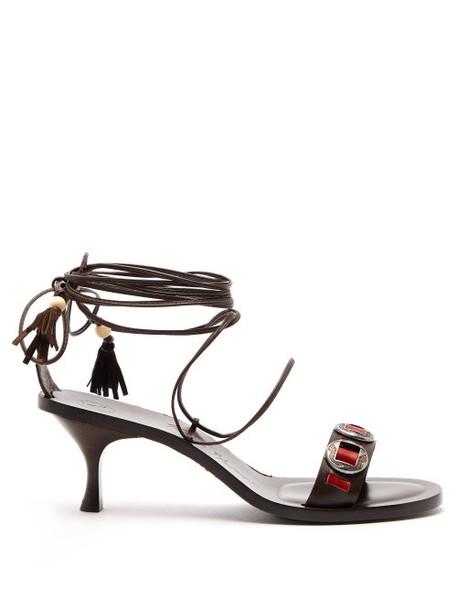 Álvaro Álvaro - X Kim Hersov Leather Sandals - Womens - Dark Brown
