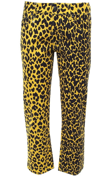 R13 Joey Leopard-print Cotton Cropped Jeans