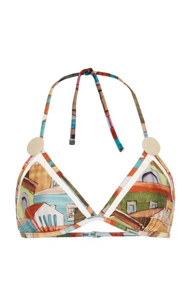 Agua de Coco Printed Triangle Bikini Top Size: XS in print