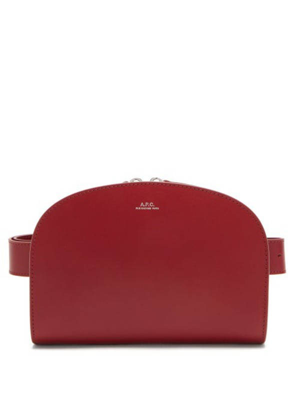 A.P.C. A.p.c. - Half Moon Leather Belt Bag - Womens - Red
