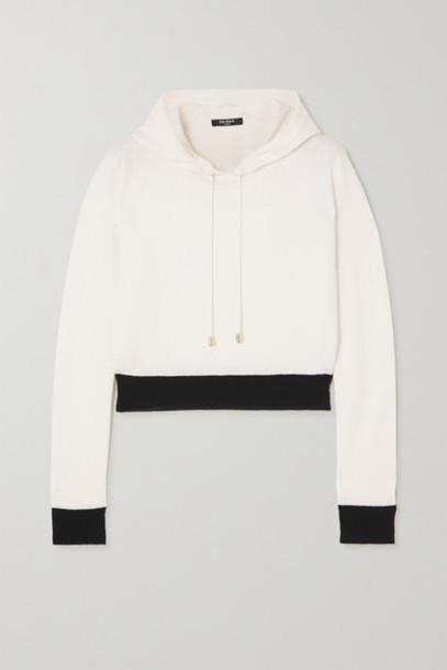 Balmain - Cropped Two-tone Jacquard-knit Wool-blend Hoodie - White