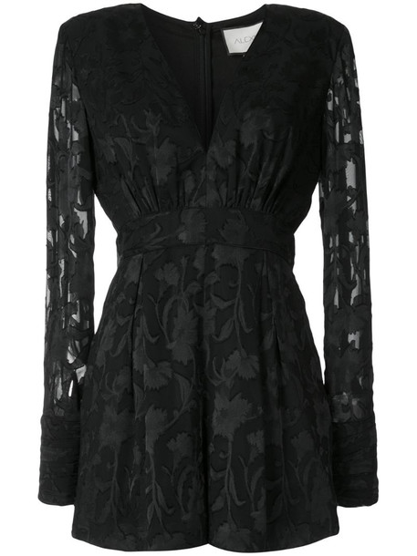 Alexis V-neck floral playsuit in black