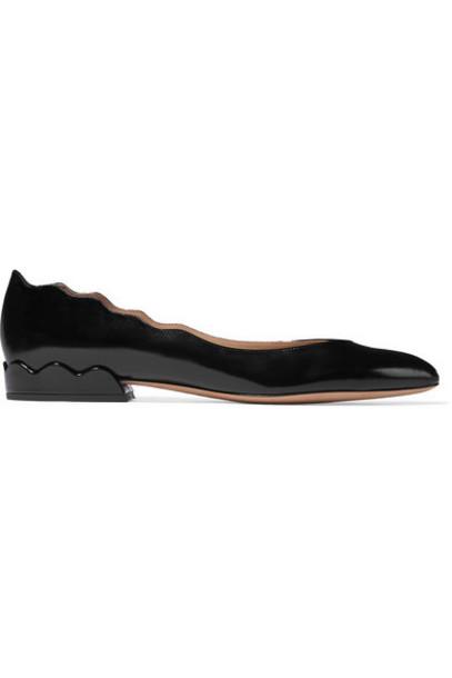 Chloé Chloé - Laurena Scalloped Textured Patent-leather Ballet Flats - Black