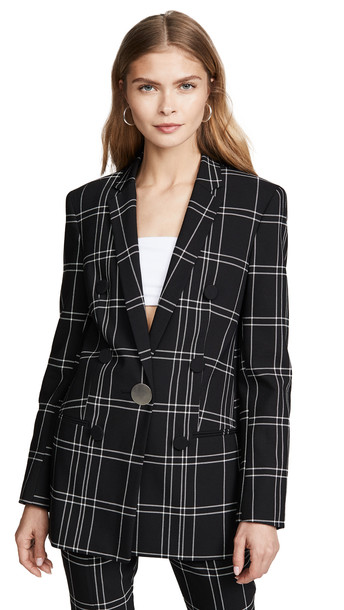 Alexander Wang Peaked Lapel Jacket with Leather Trim in black / white
