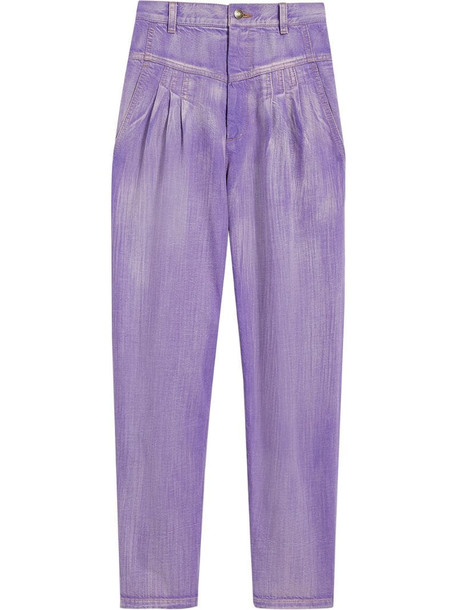 Marc Jacobs pleated high-rise tapered jeans in purple