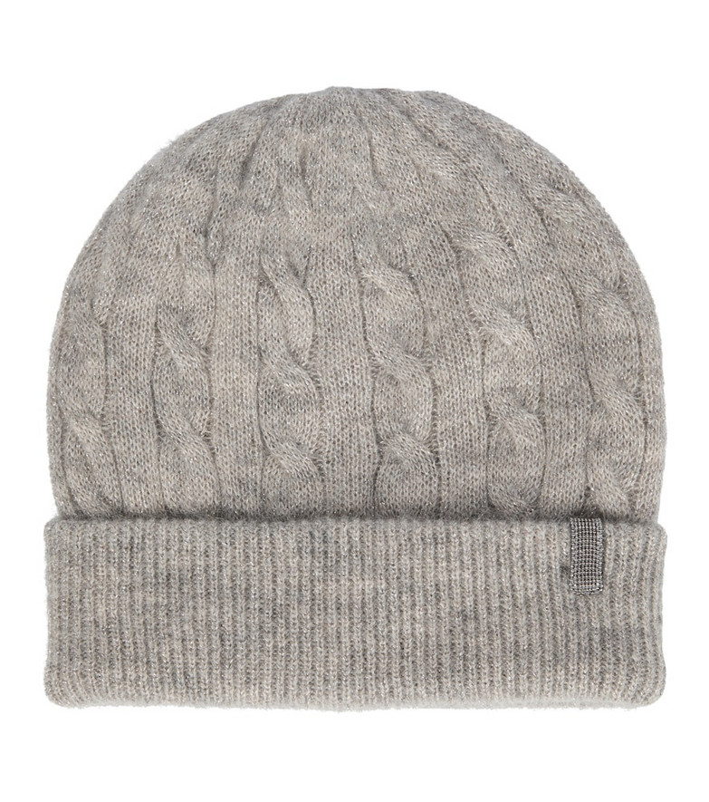 Brunello Cucinelli Embellished cable-knit beanie in grey