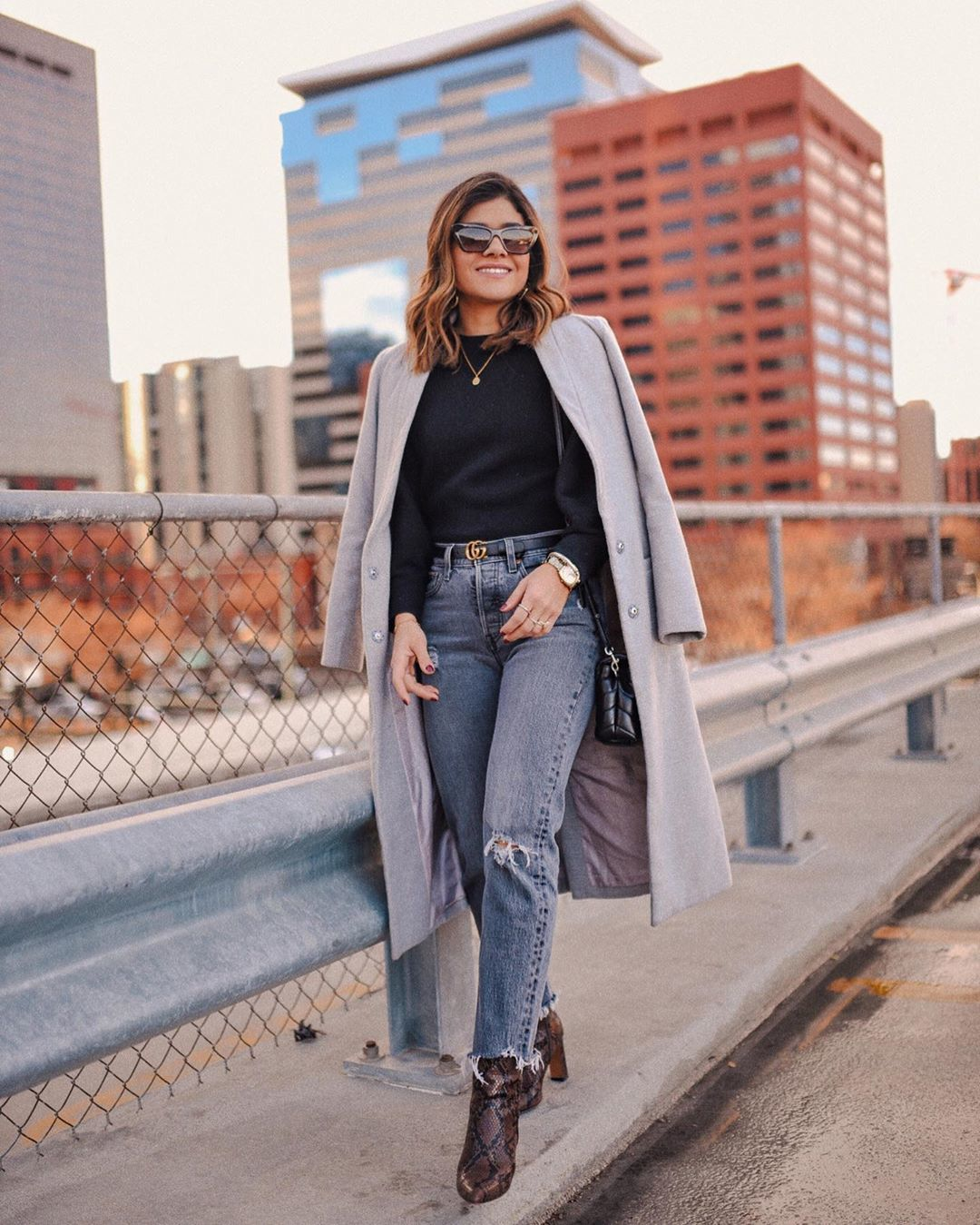 jeans straight jeans ankle boots snake print grey coat black sweater black bag