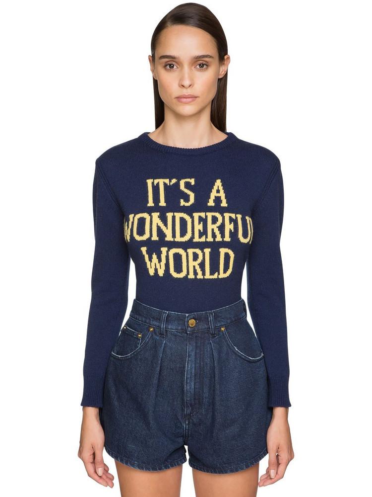 ALBERTA FERRETTI Fitted Cashmere Knit Sweater in blue / yellow