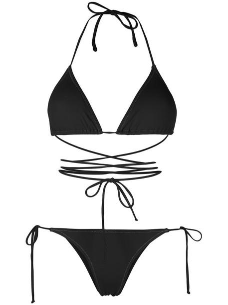 Reina Olga wrap-design bikini with metallic stitching in black