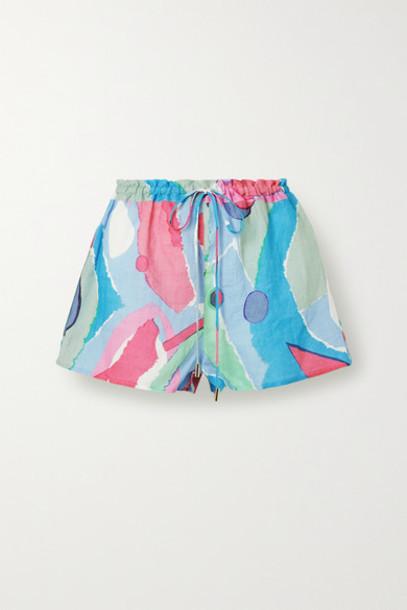Cult Gaia - Sissi Printed Linen Shorts - Light blue