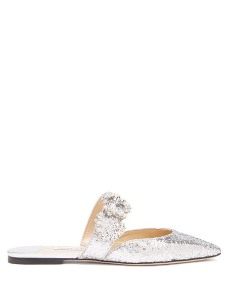 Jimmy Choo - Gee Crystal Buckle Glittered Backless Flats - Womens - Silver