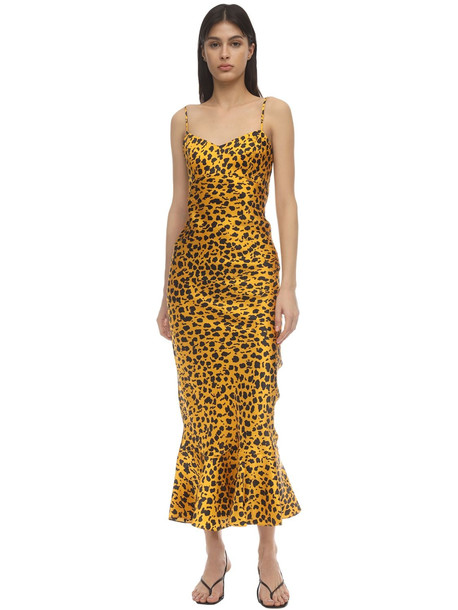 SALONI Mimi Printed Satin Midi Dress in black / yellow