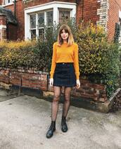 skirt,black skirt,mini skirt,high waisted skirt,black boots,ankle boots,lace up boots,tights,sweater,chloe