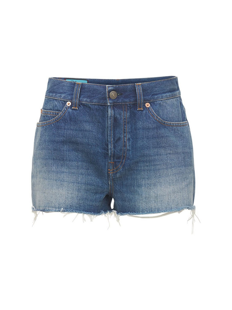 GUCCI Cotton Denim Shorts W/ Embroidery