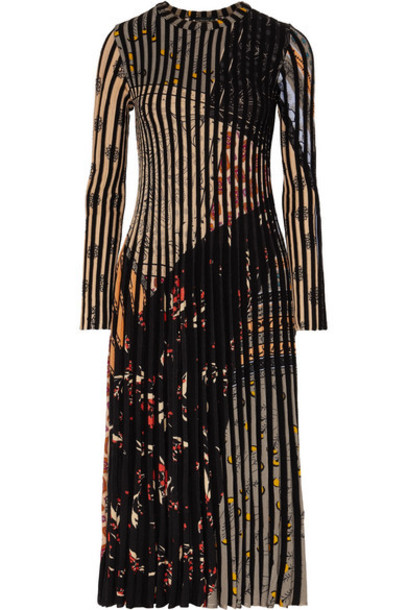 Etro - Pleated Jacquard-knit Midi Dress - Black