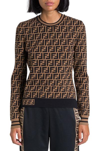 Fendi Crewneck Sweater With Ff Motif