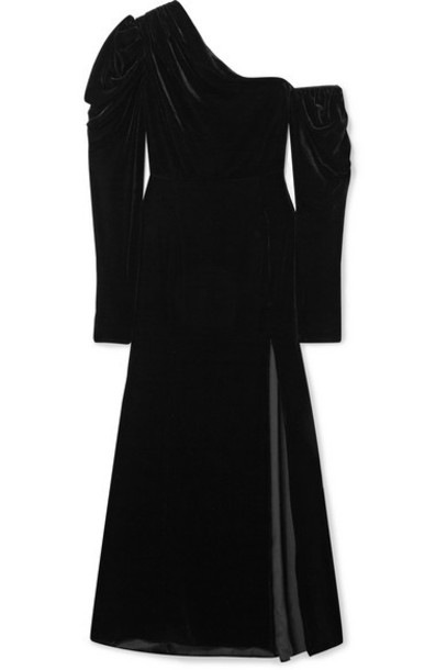 Les Rêveries - One-shoulder Ruched Velvet Maxi Dress - Black