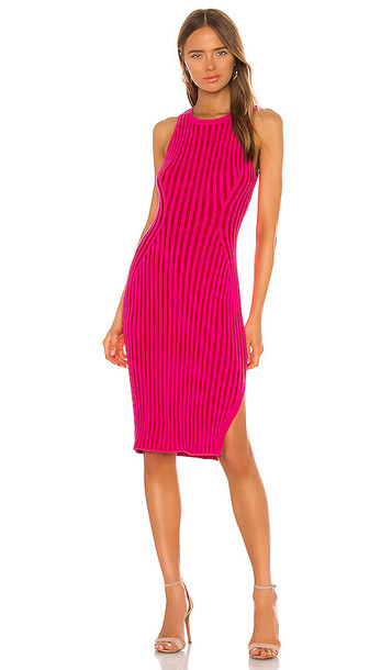 MILLY Rid Knee Length Dress in Pink