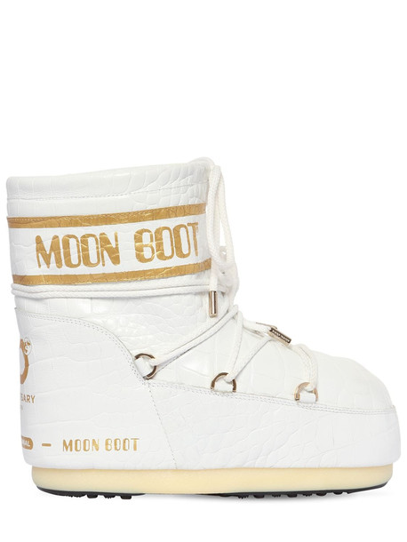 MOON BOOT 50mm Croc Embossed Leather Snow Boots in white