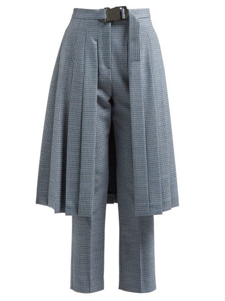 Fendi - Pleated Skirt Panel Wool Blend Tweed Trousers - Womens - Blue Multi