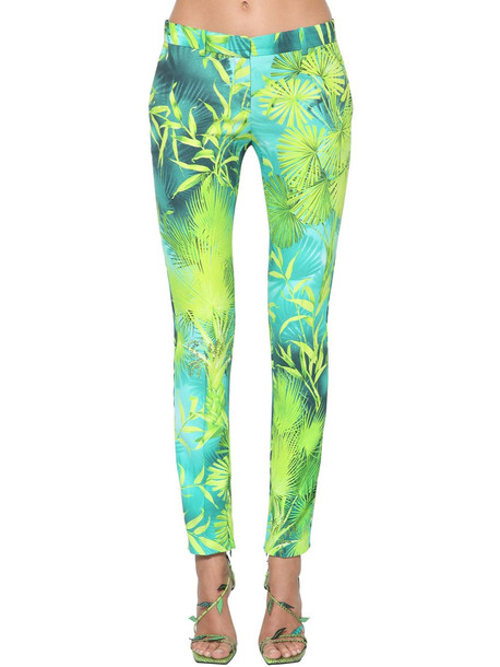 VERSACE Jungle Print Viscose Cady Pants in blue / green