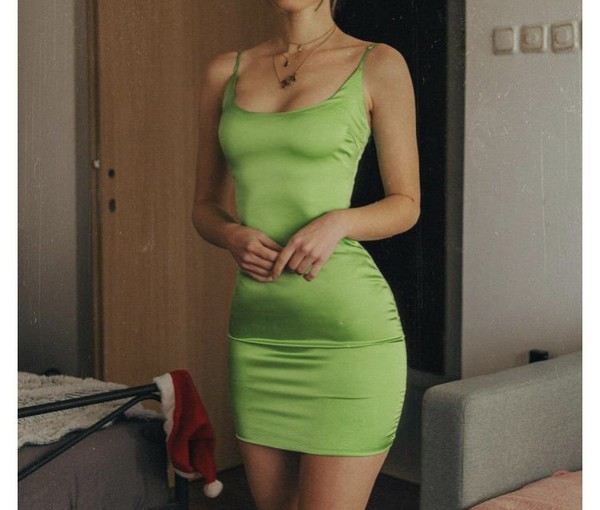 dress simple dress sexy green silk dress
