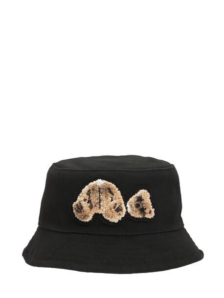 PALM ANGELS Bear Cotton Bucket Hat in black / brown