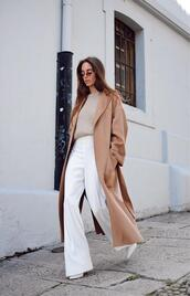 stella wants to die,blogger,coat,pants,sunglasses,sweater,white pants,beige coat,long coat,zara,wide-leg pants,high waisted pants,white boots