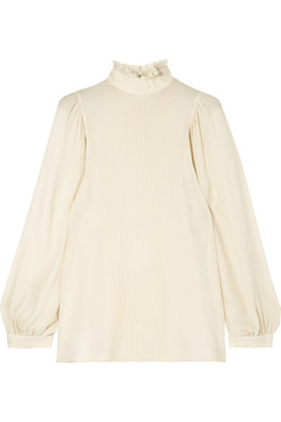 Vanessa Bruno - Murphy Ruffled Pintucked Silk-blend Chiffon Blouse - Ivory