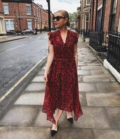dress,red dress,asymmetrical dress,snake print,maxi dress,chiffon dress,sleeveless dress,ballet flats